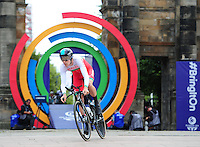 Wales' Luke Rowe sets off on his time trial<br /> <br /> Photographer Chris Vaughan/CameraSport<br /> <br /> 20th Commonwealth Games - Day 8 - Thursday 31st July 2014 - Cycling - time trial - Glasgow - UK<br /> <br /> © CameraSport - 43 Linden Ave. Countesthorpe. Leicester. England. LE8 5PG - Tel: +44 (0) 116 277 4147 - admin@camerasport.com - www.camerasport.com