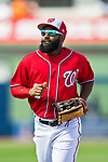 28 February 2017: Washington Nationals outfielder Brian Goodwin in Spring Training action during the inaugural game against the Houston Astros at the Ballpark of the Palm Beaches in West Palm Beach, Florida. The Nationals defeated the Astros 4-3 in Grapefruit League play. Mandatory Credit: Ed Wolfstein Photo *** RAW (NEF) Image File Available ***