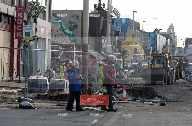 16/02/2011 Blackpool Lancashire UK.Central promenade roadworks adjacent to the Palatine building...© Phill Heywood.