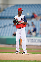 Syracuse Chiefs starting pitcher Phillips Valdez (28) gets ready to deliver a pitch during a game against the Scranton/Wilkes-Barre RailRiders on June 14, 2018 at NBT Bank Stadium in Syracuse, New York.  Scranton/Wilkes-Barre defeated Syracuse 9-5.  (Mike Janes/Four Seam Images)