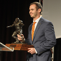 NWA Democrat-Gazette/DAVID GOTTSCHALK Hunter Renfrow, wide receiver at Clemson University, receives Monday, December 3, 2018, the 2018 Burlsworth Trophy at the Northwest Arkansas Convention Center in Springdale. The national award is named after Brandon Burlsworth, a former walk-on at the University of Arkansas, and honors the athletic accomplishments of the walk-on student athlete.