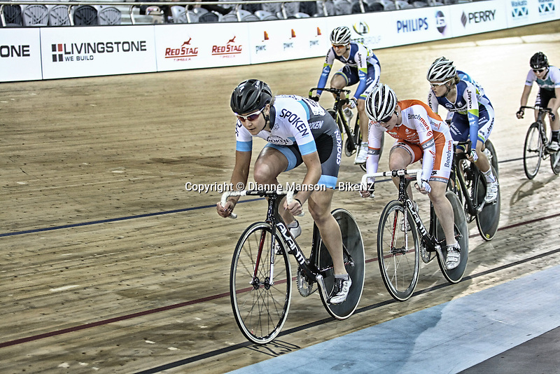 Jaime Nielsen in the (WE) Elimination (omnium) at the Avanti BikeNZ Classic, Avantidrome, Cambridge, New Zealand, Thursday, September 18, 2014, Credit: Dianne Manson/BikeNZ