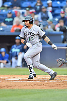 Augusta GreenJackets left fielder Diego Rincones (16) swings at a pitch during a game against the Asheville Tourists at McCormick Field on April 4, 2019 in Asheville, North Carolina. The GreenJackets defeated the Tourists 9-5. (Tony Farlow/Four Seam Images)