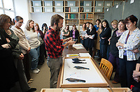 Faces and Places tour and reception of Occidental College's Moore Laboratory of Zoology, near Sycamore Glen. Visitors got a tour of the marine ecology lab, dive locker, new fish tank, MLZ Bird and Mammal Collection and the rooftop greenhouse. Tuesday, November 15, 2011. (Photo by Marc Campos, Occidental College Photographer)