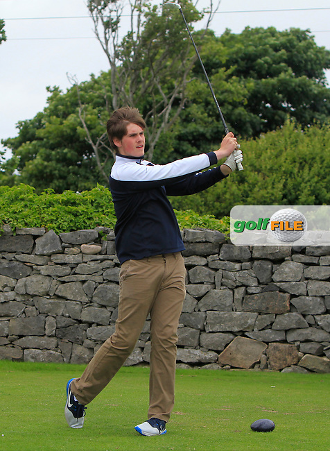 Graham Curry (Faughan Valley) on the 1st tee during R2 of the 2016 Connacht U18 Boys Open, played at Galway Golf Club, Galway, Galway, Ireland. 06/07/2016. <br /> Picture: Thos Caffrey | Golffile<br /> <br /> All photos usage must carry mandatory copyright credit   (&copy; Golffile | Thos Caffrey)