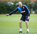 Mark Warburton with his Rangers players. Encouragement, tactics, passing, pressure, work ethic.