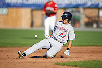 Mahoning Valley Scrappers shortstop Luke Wakamatsu (22) slides into second during a game against the Auburn Doubledays on June 19, 2016 at Falcon Park in Auburn, New York.  Mahoning Valley defeated Auburn 14-3.  (Mike Janes/Four Seam Images)