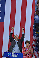MIAMI, FL - JULY 23: (L) Democratic candidate for Vice President, U.S. Senator Tim Kaine (D-VA) and his wife Anne Bright Holton attend a rally by Democratic Presumptive Nominee for President and former Secretary of State Hillary Clinton at the Florida International University Panther Arena in Miami, Florida on July 23, 2016. With two days to go until the Democratic National Convention, Hillary Clinton is campaigning in Florida. Credit: MPI10 / MediaPunch