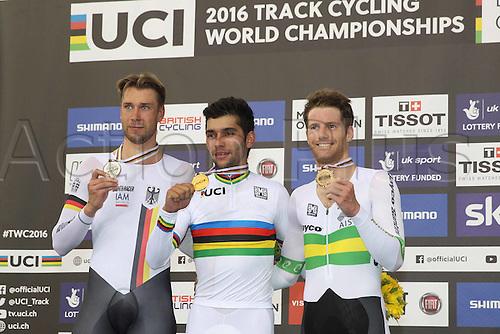 05.03.2016. Lee Valley Velo Centre, London, England. UCI Track Cycling World Championships Mens Omnium.  Podium : KLUGE Roger (GER) - GAVIRIA RENDON Fernando (COL) - OSHEA Glenn  (AUS)