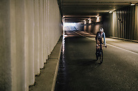 Romain Bardet (FRA/AG2R-La Mondiale) returning through a tunnel to the team buses after finishing the opening TT<br /> <br /> 104th Tour de France 2017<br /> Stage 1 (ITT) - D&uuml;sseldorf &rsaquo; D&uuml;sseldorf (14km)