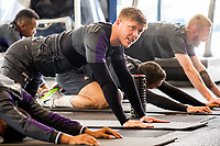 Alfie Mawson of Swansea City stretches during a gym session at The Fairwood training Ground, Swansea, Wales, UK. Tuesday 25 April 2017