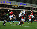 Preston's Joe Garner tussles with Manchester United's Marcos Rojo<br /> <br /> FA Cup - Preston North End vs Manchester United  - Deepdale - England - 16th February 2015 - Picture David Klein/Sportimage