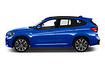 Car Driver side profile view of a 2020 BMW X1 M-Sport 5 Door SUV Side View