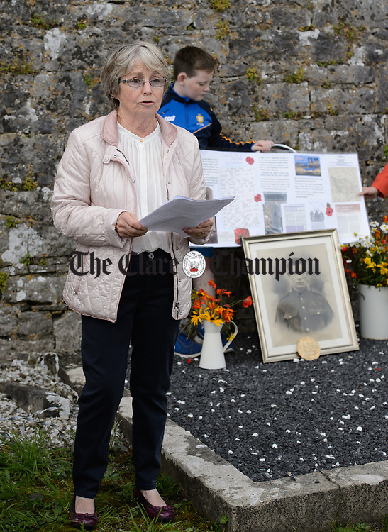 Local historian Mary Hestor speaking at a commemorative service in Kilchreest cemetery to mark the one hundredth anniversary of the death of local man John Jacko Browne who was killed in the First World War and is buried in Saulty, France. Photograph by John Kelly.