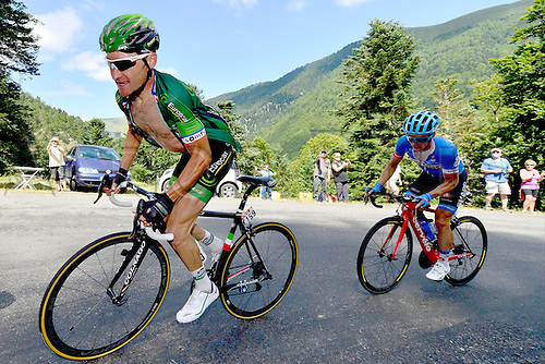22.07.2014. Carcassonne to Bagnères-de-Luchon, France. Tour de France cycling championship, stage 16.   VOECKLER Thomas (FRA - Team Europcar) ascends the Port de Bales
