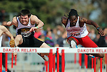 SIOUX FALLS, SD - MAY 3:  Matt Tetzlaff running unattached and xxxxx from from the University of South Dakota  battle down the stretch in the Men's 100 Meter Hurdles Saturday morning at the 2014 Howard Wood Dakota Relays. (Photo by Dave Eggen/Inertia)