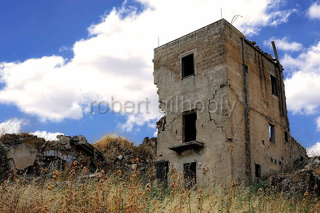 The crumbled remains of the village of Gibellina in the northwestern part of Sicily, Italy, which was destroyed  by an earthquake in 1968. The village remains as it was, while a new, ultra-modernist  town was constructed for surviving residents 10 km away.