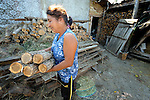 "THIS PHOTO IS AVAILABLE AS A PRINT OR FOR PERSONAL USE. CLICK ON ""ADD TO CART"" TO SEE PRICING OPTIONS.   Mitka Ivanova lives in the Bulgarian town of Staro Oriahovo, where residents consider the term ""Roma""  to be negative and thus refer to themselves as Romanian-speaking Bulgarians. here she collects wood to take inside her home."