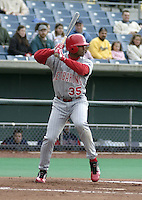 May 5, 2004:  Outfielder Jorge Padilla (35) of the Scranton-Wilkes Barre Red Barons, Class-AAA International League affiliate of the Philadelphia Phillies, during a game at P&C Stadium in Syracuse, NY.  Photo by:  Mike Janes/Four Seam Images