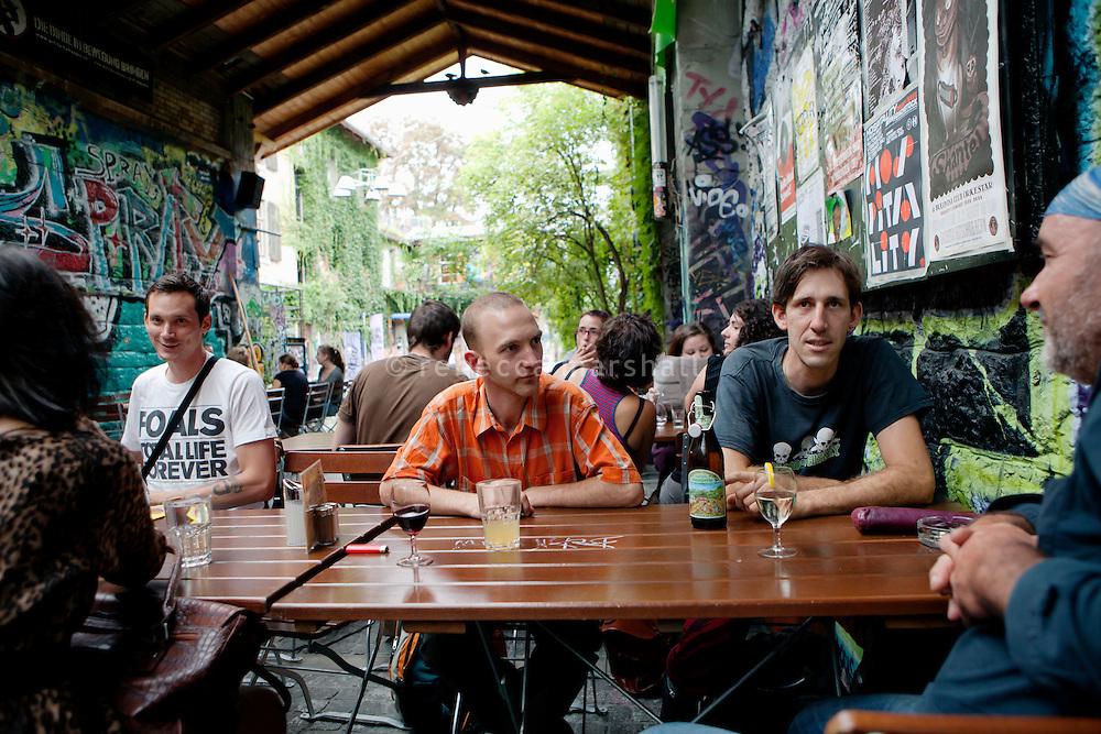 Sous le Pont bar terrace, Reitschule complex, Bern, Switzerland, 26 August 2011