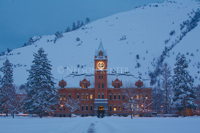 Main Hall at dawn on the University of Montana campus in Missoula, Montana after a fresh snow fall
