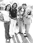 Bee Gees 1978 Robin Gibb, Barry Gibb, Maurice Gibb with Frankie Howerd on Sgt.Pepper set