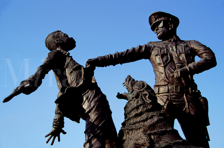 "Sculpture in """"Place of Revolution and Reconciliation Park"""" is a monument to """"foot soldiers of the Birmingham civil rights movement."""" Birmingham, Alabama."