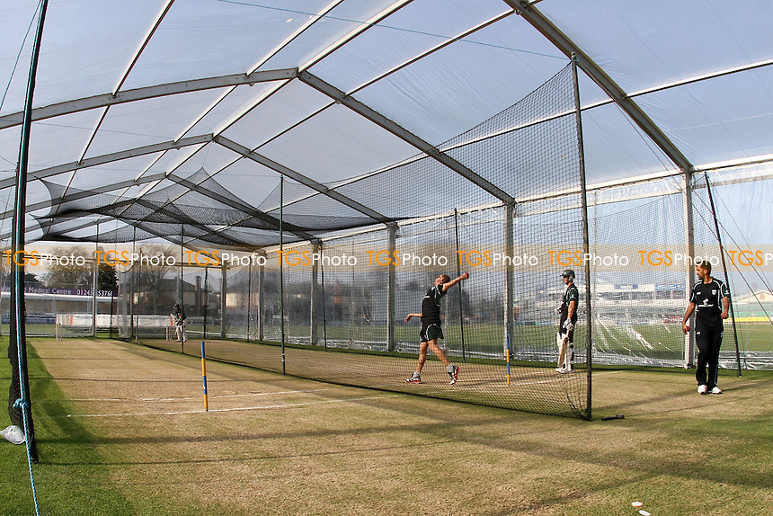 A new innovation at Essex for 2012, a giant plastic tent houses indoor practice nets on the outfield - Essex CCC vs Worcestershire CCC - Friendly Cricket Match at the Ford County Ground, Chelmsford, Essex - 29/03/12 - MANDATORY CREDIT: Gavin Ellis/TGSPHOTO - Self billing applies where appropriate - 0845 094 6026 - contact@tgsphoto.co.uk - NO UNPAID USE.