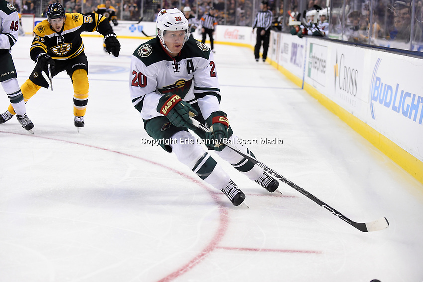 Thursday, November 19, 2015: Minnesota Wild defenseman Ryan Suter (20) chases the puck into the corner during the National Hockey League game between the Minnesota Wild and the Boston Bruins held at TD Garden, in Boston, Massachusetts. The Bruins defeat the Wild 4-2. Eric Canha/CSM