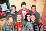 Enjoying all the fun at the Feíle Sléibhteoireachta and Cheoil Chlochán Bhréanainn last Saturday night were front l-r: Olivia Vaughan, Yasmin Humble, Amy James and Ashley Maunsell. Back l-r: Andrew Finn, Killian Dowling and Eoin Herlihy.