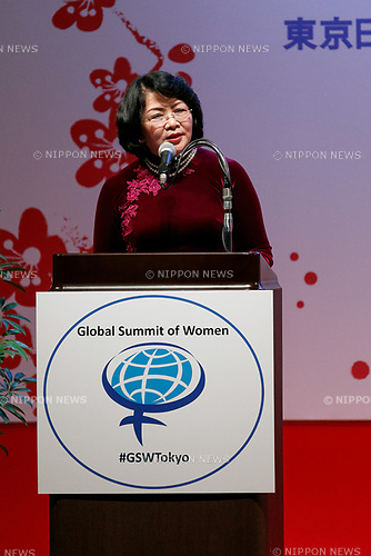 Vice President of Vietnam Dang Thi Ngoc Thinh speaks during the 2017 Global Summit of Women on May 11, 2017, Tokyo, Japan. The annual Global Summit of Women is being held in Tokyo for the first time with the objective of empowering Japanese women through the speeches of female leaders' from both the private and public sectors. The event is organized by the Washington-based NPO Globe Women and runs until May 13. (Photo by Rodrigo Reyes Marin/AFLO)