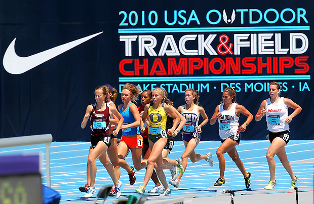 Athletes run in the 1500 meter run junior women's prelims.   Day three of the USA Outdoor Track & Field Championships held on Thursday June 24, 2010 at Drake Stadium.