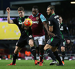 West Ham's Michail Antonio tussles with Marco Van Ginkel and Erik Pieters<br /> <br /> Barclays Premier League - West Ham United v Stoke City - Upton Park - England -12th December 2015 - Picture David Klein/Sportimage