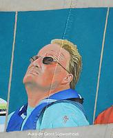 CULTUUR: GOINGARIJP: 04-05-2015, Fok SKS Skûtsjes en portretten van de schippers geschilderd door oud skûtsjeschipper Anne Tjerkstra, Auke de Groot ( SWH) Stavoren, ©foto Martin de Jong