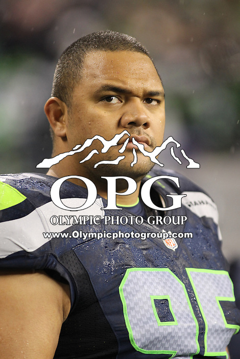 Dec 23, 2012:  Seattle Seahawk's Hebron Fangupo against the San Francisco during Sunday nights game of the week at Century Link Stadium in Seattle WA.  Seattle defeated San Francisco 42-13.