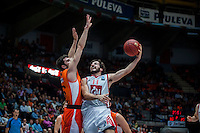 VALENCIA, SPAIN - OCTOBER 20: Guillem Vives and Tomas Bellas during EUROCUP match between Valencia Basket Club and CAI Zaragozaat Fonteta Stadium on   October 22, 2015 in Valencia, Spain