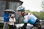 Romain Bardet (FRA) AG2R La Mondiale during a wet miserable 105th edition of Liège-Bastogne-Liège 2019, La Doyenne, running 256km from Liege to Liege, Belgium. 28th April 2019<br /> Picture: ASO/Gautier Demouveaux | Cyclefile<br /> All photos usage must carry mandatory copyright credit (© Cyclefile | ASO/Gautier Demouveaux)