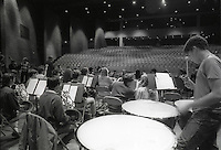 Students at Fiorello H. Laguardia High School for Music and Art and the Performing Arts tune up for orchestra practice