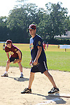 Josh Charles, (The Good Wife) bats and is on base at the 63rd Annual Charity Softball Game 2011 - Artists versus Writers to benefit East Hampton Day Care Learning Center, East End Hospice and Phoenix Houses of Long Island - played at Herrick Park, East Hampton, New York. (Photo by Sue Coflin/Max Photos)