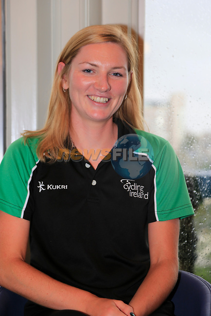 Alice Sharpe (IRL) at the Cycling Ireland press conference during the Men U23 Road Race of the UCI World Championships 2019 running 186.9km from Doncaster to Harrogate, England. 27th September 2019.<br /> Picture: Eoin Clarke | Cyclefile<br /> <br /> All photos usage must carry mandatory copyright credit (© Cyclefile | Eoin Clarke)