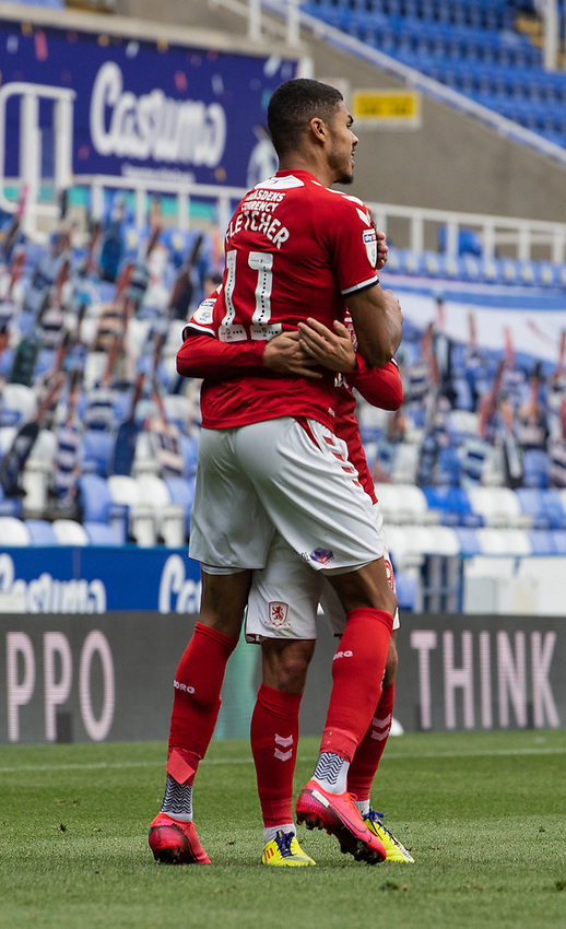 Middlesbrough's Ashley Fletcher celebrates scoring his side's first goal <br /> <br /> Photographer David Horton/CameraSport<br /> <br /> The EFL Sky Bet Championship - Reading v Middlesbrough - Tuesday July 14th 2020 - Madejski Stadium - Reading<br /> <br /> World Copyright © 2020 CameraSport. All rights reserved. 43 Linden Ave. Countesthorpe. Leicester. England. LE8 5PG - Tel: +44 (0) 116 277 4147 - admin@camerasport.com - www.camerasport.com
