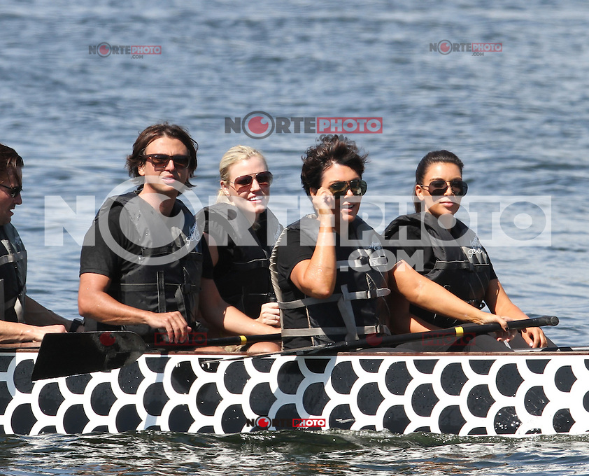 /NortePhoto /NortePhoto The Kardashian family was seen at a park doing stretches and practicing their rowing skills before heading out on boats in Miami, Florida .29.SEP.2012.MIAMI BEACH<br />