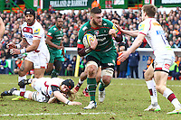 28.02.2015.  Leicester, England.  Aviva Premiership. Leicester Tigers versus Sale Sharks. Laurence Pearce  (Leicester Tigers) on the charge.