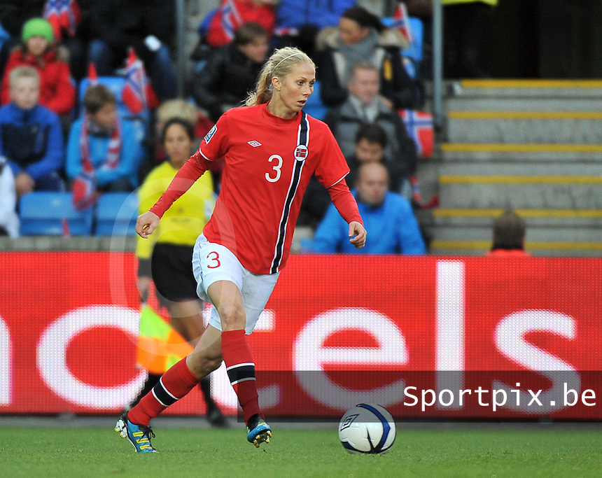 20130925 - OSLO , NORWAY : Norwegian Marit Christensen pictured during the female soccer match between Norway and Belgium , on the second matchday in group 5 of the UEFA qualifying round to the FIFA Women World Cup in Canada 2015 at the Ullevaal Stadion , Oslo . Wednesday 25th September 2013. PHOTO DAVID CATRY