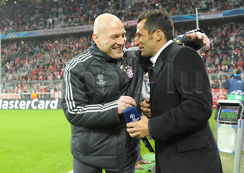 02.04.2013. Munich, Germany.  Champions League Quarter-finals Leg FC Bavaria Munich versus Juventus  in the Munich Alliance Arena. Sports manager Matthias Sammer  Munich and Hasan Salihamidzic