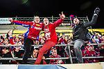 Bolln&auml;s 2013-10-25 Bandy Elitserien Bolln&auml;s GIF - Edsbyns IF :  <br /> Glada Edsbyn supportrar i slutet av matchen<br /> <br /> (Foto: Kenta J&ouml;nsson) Nyckelord:  supporter fans publik supporters jubel gl&auml;dje lycka glad happy