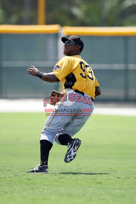 Pittsburgh Pirates Jeremias Portorreal (93) during an Instructional League Intrasquad Black & Gold game on September 28, 2016 at Pirate City in Bradenton, Florida.  (Mike Janes/Four Seam Images)