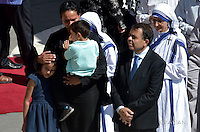 Brazilian mechanical engineer Marcilio Andrino and his wife Fernanda Nascimento Rocha leave after greeting Pope Francis during a Holy Mass and canonisation for Mother Teresa of Kolkata, on Saint Peter's Square in the Vatican, on September 4, 2016.