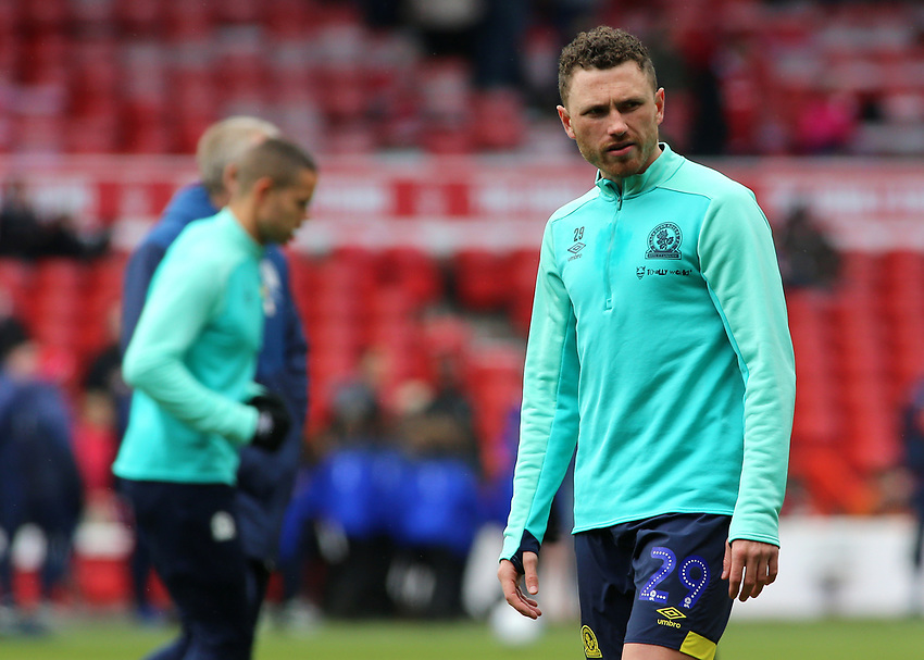 Blackburn Rovers' Corry Evans during the pre-match warm-up <br /> <br /> Photographer David Shipman/CameraSport<br /> <br /> The EFL Sky Bet Championship - Nottingham Forest v Blackburn Rovers - Saturday 13th April 2019 - The City Ground - Nottingham<br /> <br /> World Copyright © 2019 CameraSport. All rights reserved. 43 Linden Ave. Countesthorpe. Leicester. England. LE8 5PG - Tel: +44 (0) 116 277 4147 - admin@camerasport.com - www.camerasport.com