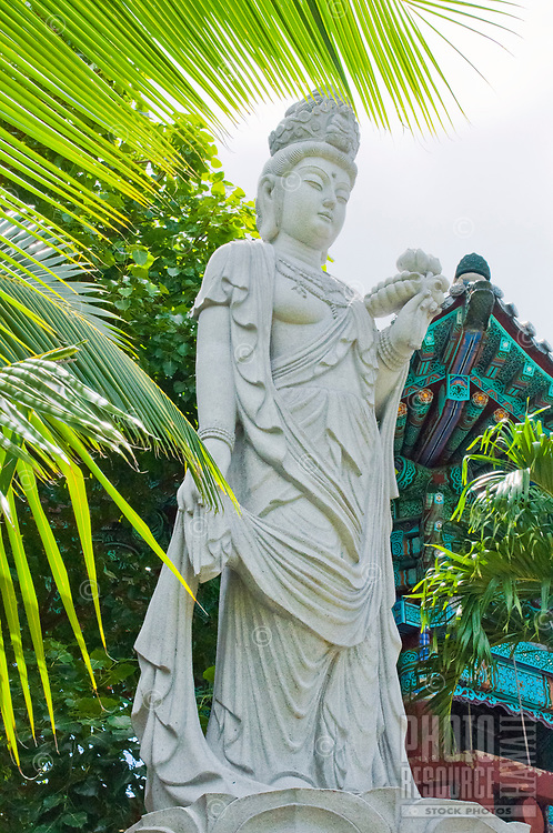 A statue at Mu-Ryang-Sa (or Broken Ridge Temple), a Korean Buddhist temple in Palolo Valley, Honolulu, O'ahu, whose offerings include Buddhist teachings and meditation.